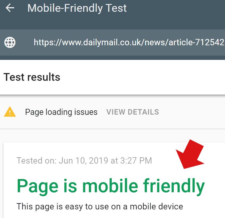 Google移动友好测试工具的屏幕截图