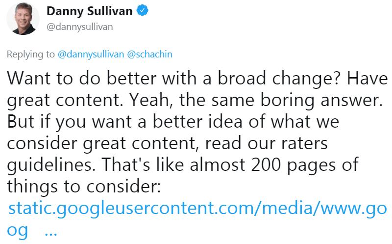 谷歌的Danny Sullivan推特的截图