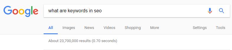 """谷歌搜索查询""""SEO中的关键字是什么"""""""