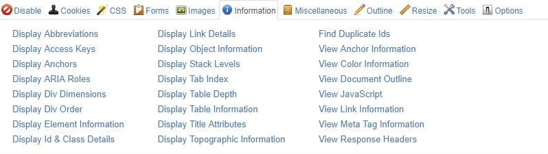 技术SEO工具 -  Web开发人员工具栏